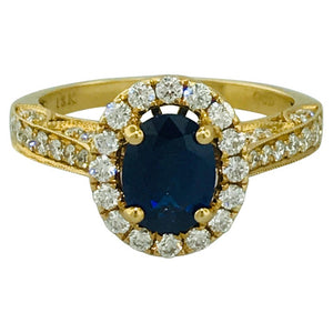 Sapphire and Diamond Halo Diamond Ring