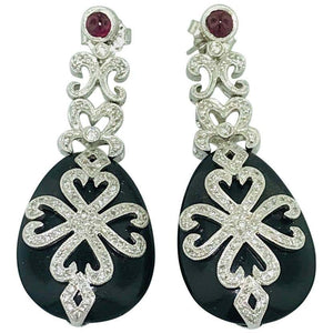 Ornate Diamond, Black Onyx and Garnet Drop Earrings in White Gold Estate Piece