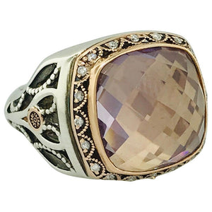 Tacori Rose de France Amethyst Silver and Gold Ring