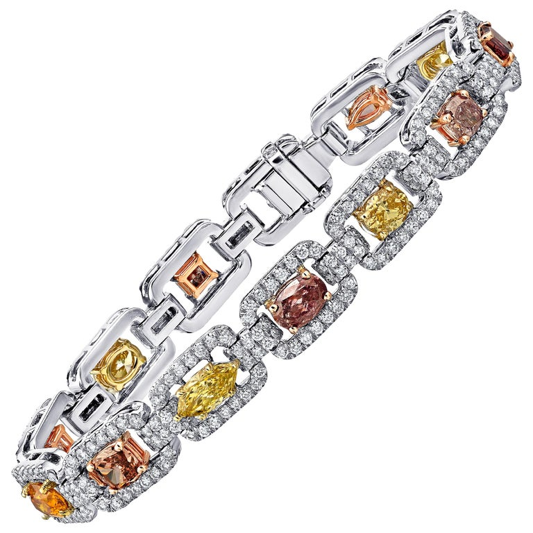 Certified Fancy Diamond Tennis Bracelet in Platinum & Mixed Gold