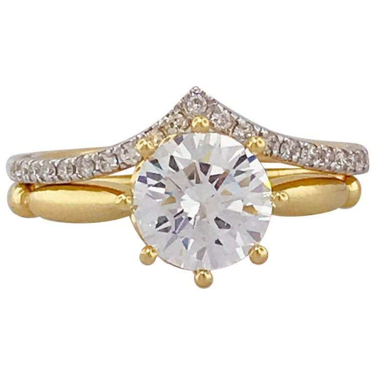 Round Diamond 8 Prong Solitaire and Diamond V Band Wedding Set