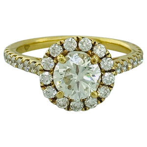 Custom Diamond Halo Engagement Ring in 14k Yellow Gold, 1.89 ct tw Diamonds