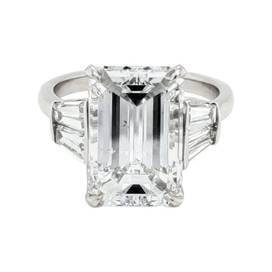 Certified 6 Carat Emerald Cut Diamond Platinum Ring