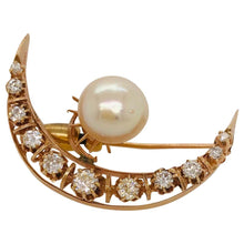 Pearl and Rose Cut Diamond Crescent Moon Brooch, 14 Karat Yellow Gold Estate Piece