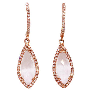 White Topaz and Diamond Earring Dangles