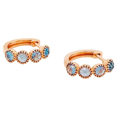 1.00 Carat London Blue Topaz Mini Hoop Earrings, Huggies in 14 Karat Rose Gold