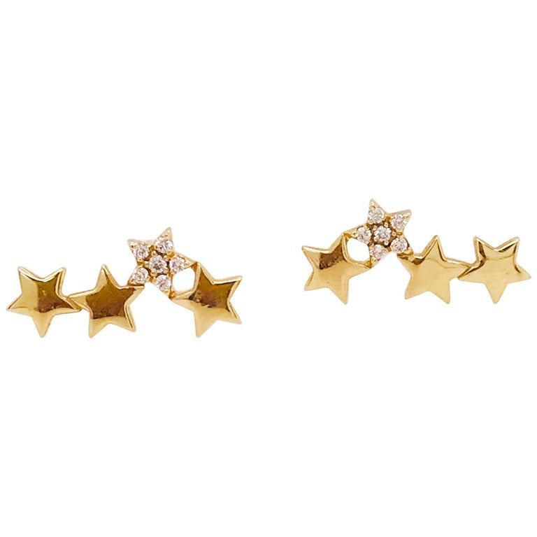 Diamond Star Ear Climbers Stud Earrings