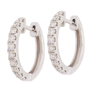 .64 Carat Diamond 14 Karat Gold Huggie Hoop Earrings