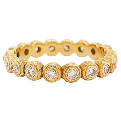 Gold Diamond Band Ring with 14k Gold Bezels