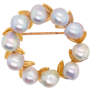 Freshwater Blue Pearl Gold Leaf Brooch in 14k gold