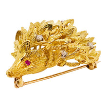 Diamond and Ruby Porcupine Animal Brooch Pin