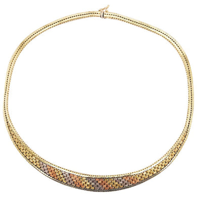 Tri Color Gold Link Chain Necklace