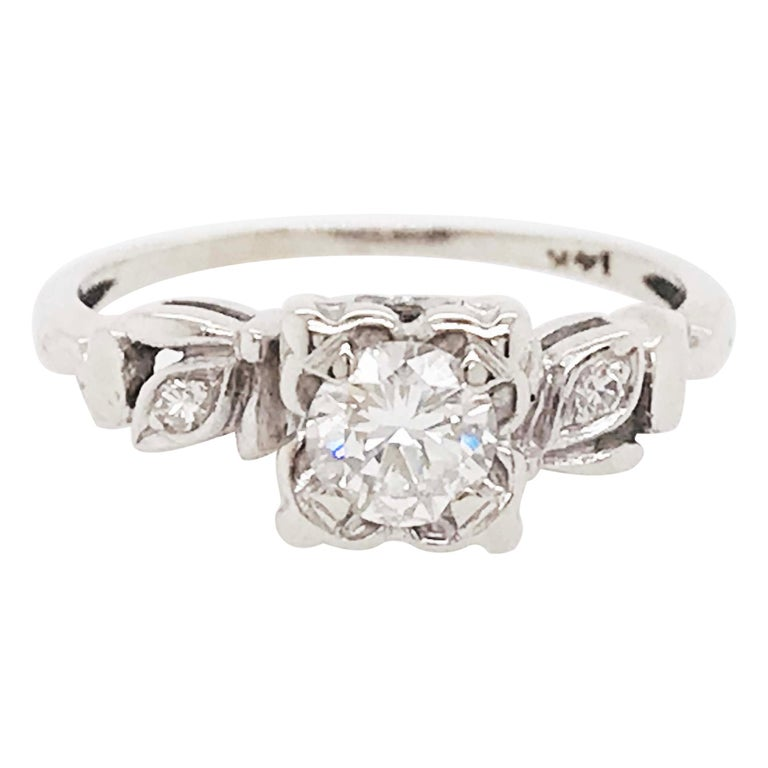 Retro Diamond Estate Engagement Ring, Circa 1953, .46 ct Diamonds