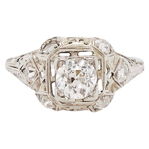Old European Diamond Platinum Ring Estate