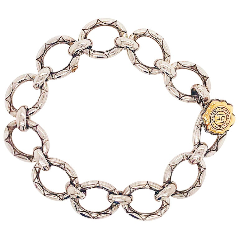Tacori Sterling Silver and 18 Karat Gold Link Bracelet