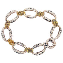 Yellow Gold Sterling Silver Link Bracelet