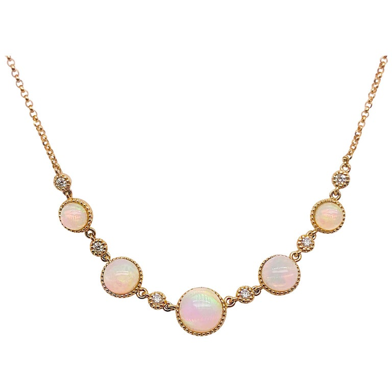 Diamond and Australian Opal Gold Necklace