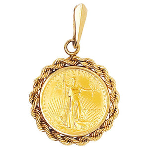 22K American Eagle Gold Coin W Rope Pendant Bezel