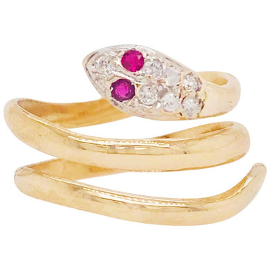 Estate Diamond & Ruby Snake Wrap Ring