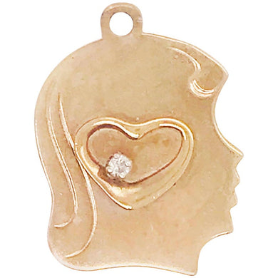 Diamond Heart and Child's Profile Engrave-Able Charm