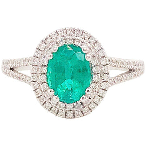 1.50 Carat Oval Emerald and Diamond Halo Engagement Ring