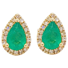Gold Emerald and Diamond Stud Earrings