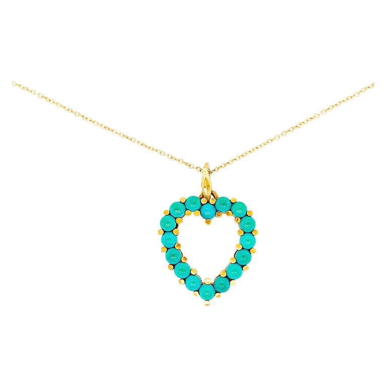 Genuine Natural Turquoise Beaded Heart Pendant and Chain