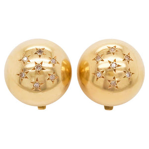 Estate Diamond Star Gold Ball Clip-On Earrings