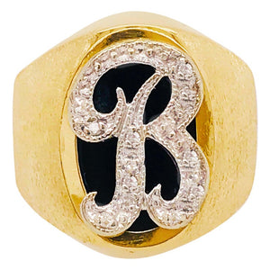 "Initia Diamond ""B"" Signet Ring-14kt Gold"