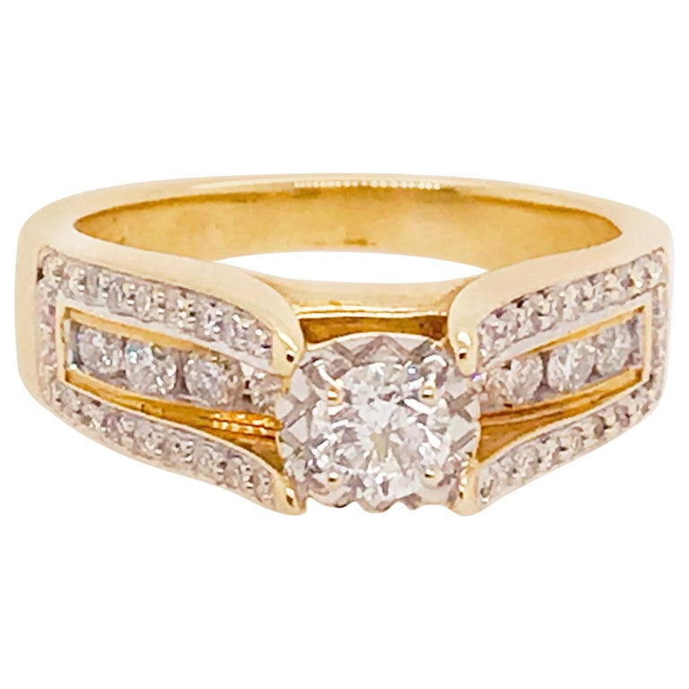 1.25 ct Diamond Ring with Round Brilliant Diamonds-14k Yellow Gold