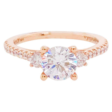 Certified Three Stone Diamond Engagement Ring in Rose Gold, 1.63 Carats