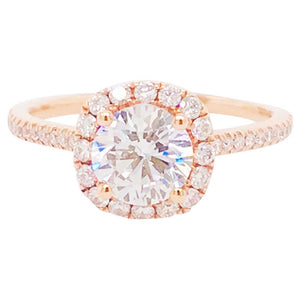 Diamond Halo Rose Gold Ring Round Diamond