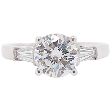 Diamond Three-Stone Round & Baguette Diamond Ring