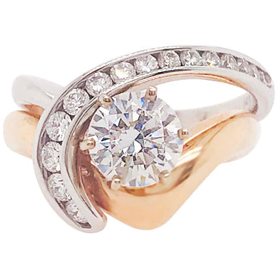 Diamond Solitaire & Diamond Band Gold Wedding Set