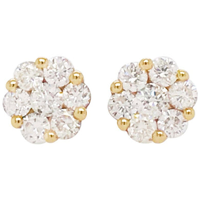 Diamond Cluster Earring Studs