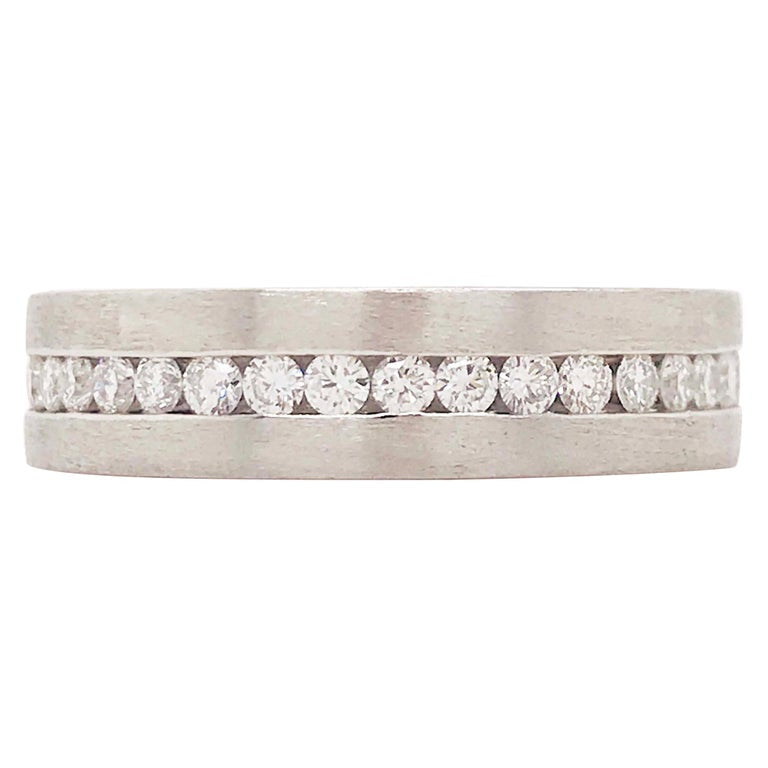Diamond Platinum Men's Wedding Band