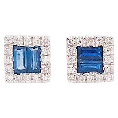 Square Sapphire Studs with Diamond Halo Earrings