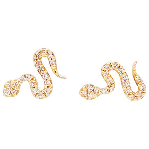 Pave Diamond Serpent Earring Studs