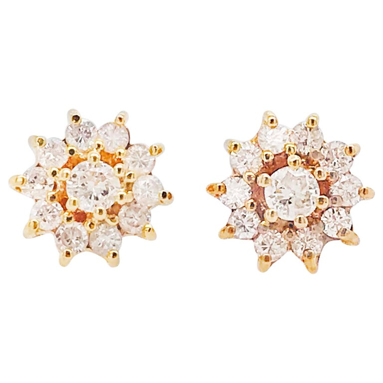 Diamond and Diamond Halo Earring Studs in Yellow Gold