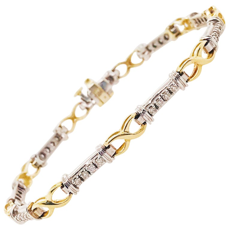 Two-Tone Diamond Bracelet-14k Solid Gold with .60 Carat Total Weight Diamonds