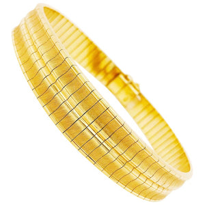 Gold Omega Bracelet Concave Bangle-Solid 18k Gold