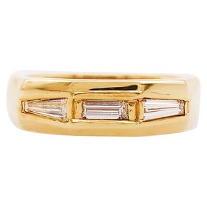 Man's Baguette Diamond Ring Three Diamonds