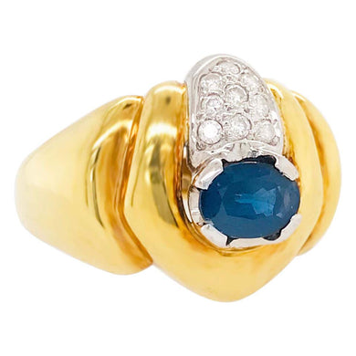 Sapphire and Diamond 18 kt Yellow Gold Statement Ring