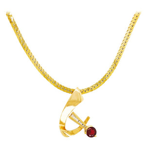 Garnet Slide Pendant with Diamonds and Heavy Flat Cable Chain Necklace