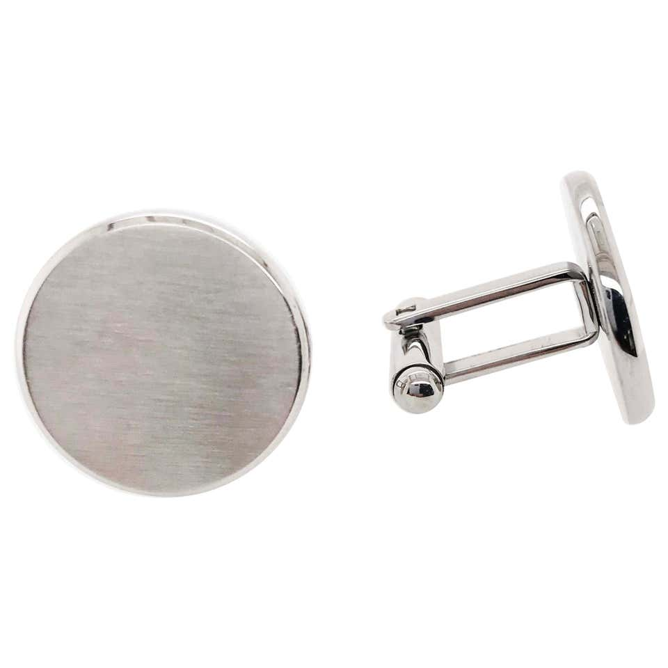 Hand Brushed Finish Round Cufflinks