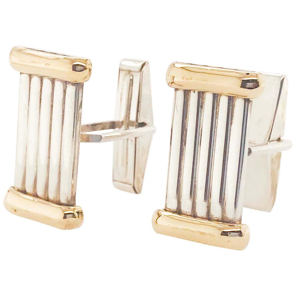 Sterling Silver and Gold Roman Column Cufflinks