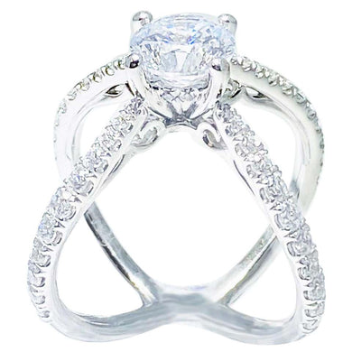Crisscross Diamond Engagement Ring, 14 Karat White Gold X-Ring with Diamond Band