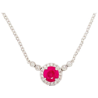 Ruby and Diamond Halo Necklace in White Gold