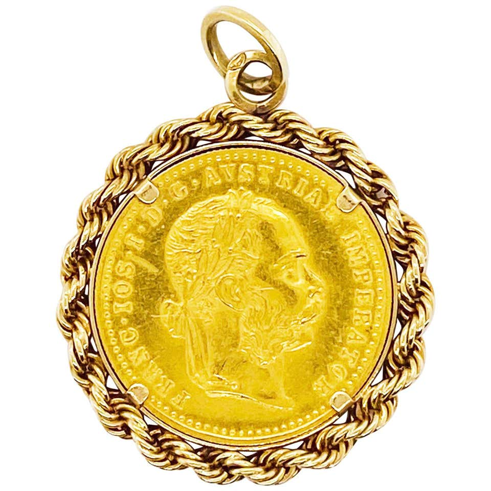 1915 Austrian Gold Coin, 14K Gold Rope Coin Bezel and Bail for Pendant, 22k, 18k