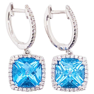 14 Karat White Gold Diamond and Blue Topaz Drop Earrings